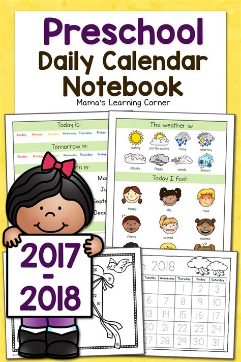 printable calendar 2017 for kindergarten preschool calendar notebook mamas learning corner