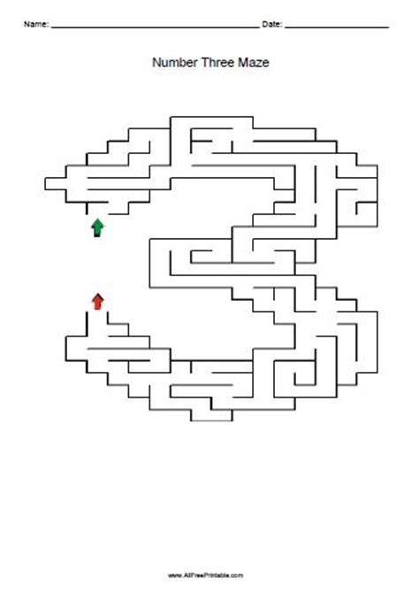 printable number maze number three maze free printable allfreeprintable com