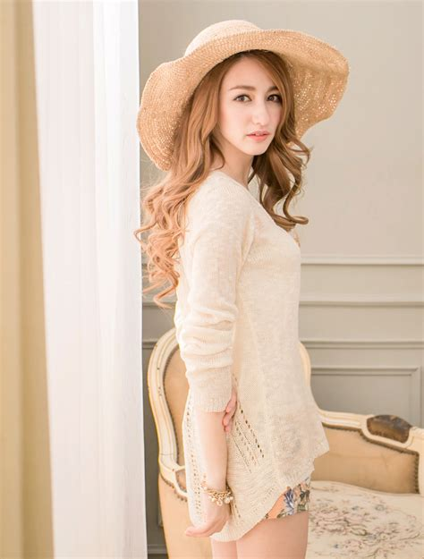 Korean Style Highneck Knitwear Blouse Sleeve Okc95 yoco womens high low knit top japanese korean fashion ebay