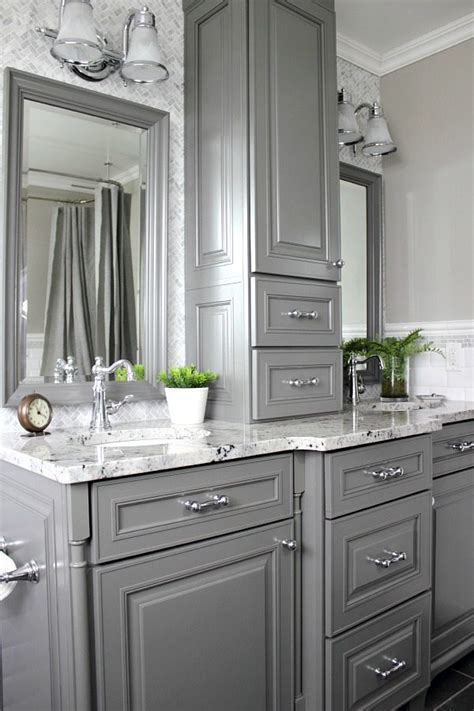 Grey Bathroom Cabinets by Our Home S Farmhouse Paint Colors The Creek Line House