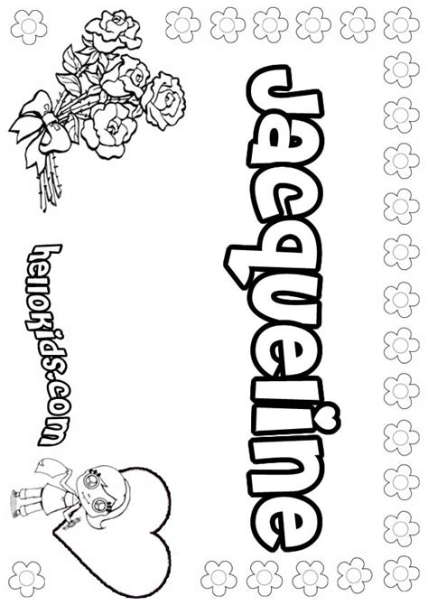 coloring pages for girl names girls name coloring pages jacqueline girly name to color