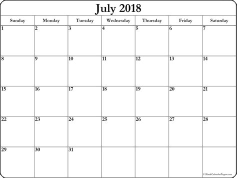 printable calendar 2018 large print july 2018 free printable blank calendar collection