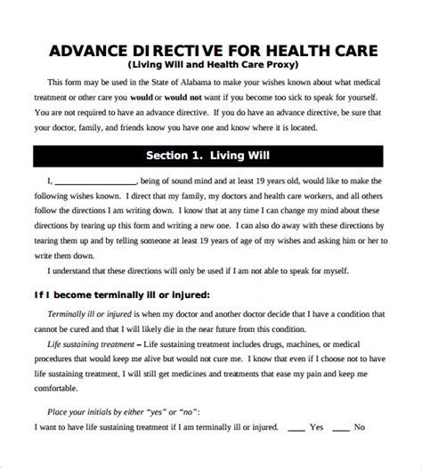 advance directive form advance directive form 9 free sles exles format