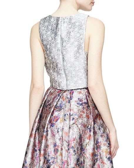 Versace Metallic Jacquard Snap Out Of It Bag by Phoebe Sleeveless Metallic Jacquard Crop Top