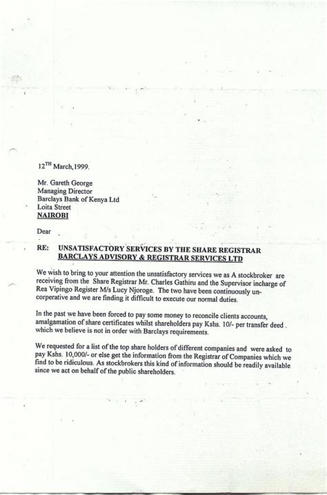 Liat Customer Complaint Letter Page 2 Of Complaint Letter Of 12 03 999 To Managing Director Barclays Kenya From What Were