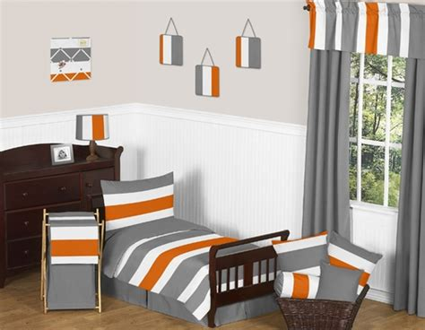gray and orange bedding gray and orange stripe toddler bedding 5pc set by sweet jojo designs click to enlarge