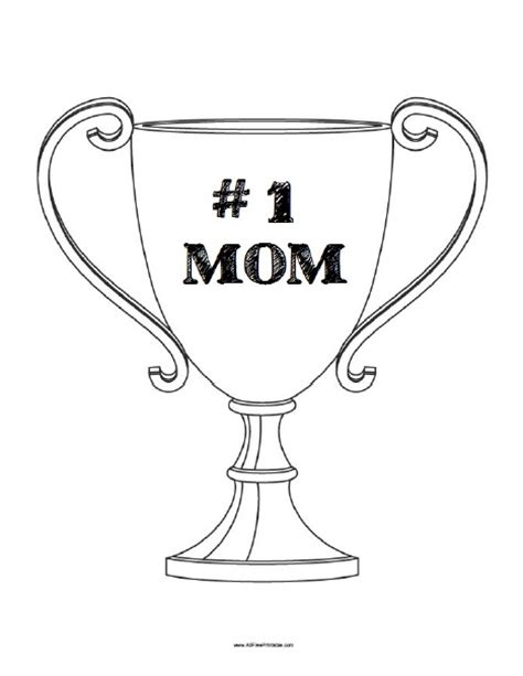 number 1 mom trophy coloring page free printable