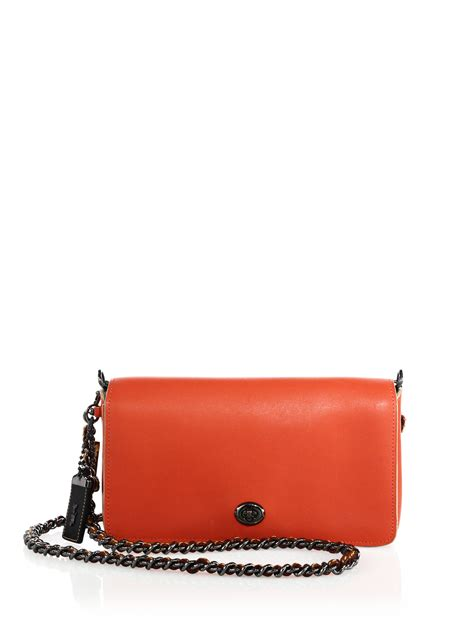 Coach Dinky Bag coach dinky leather crossbody bag in orange lyst