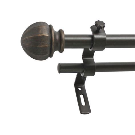128 curtain rod montevilla 86 in 128 in 5 8 in facet ball double rod