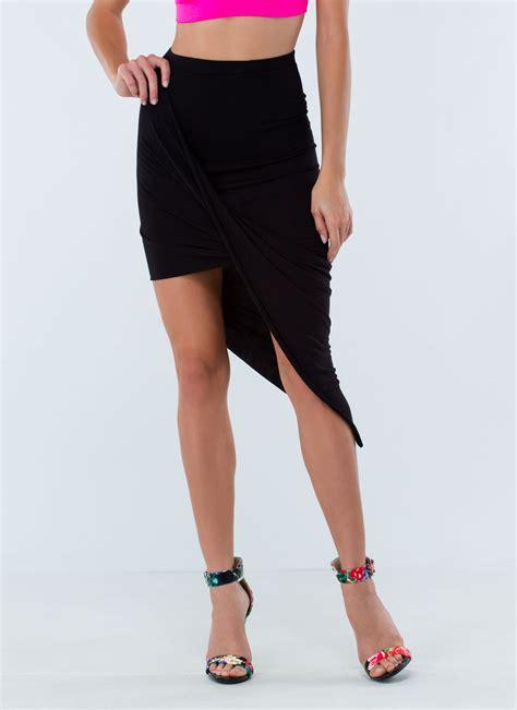 drape up asymmetrical skirt drape up asymmetrical skirt black fuchsia hgrey citron