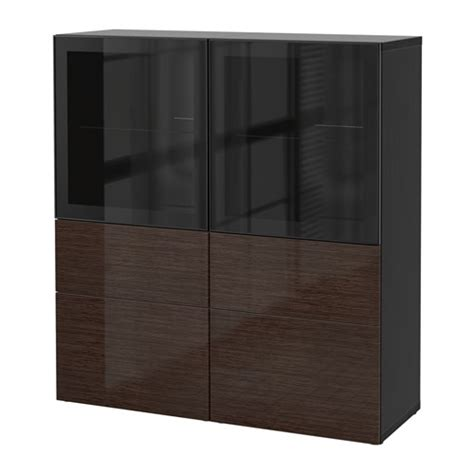 besta high gloss best 197 storage combination w glass doors black brown