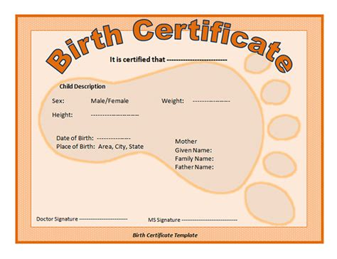 birth certificate template printable 13 free birth certificate templates sleprintable