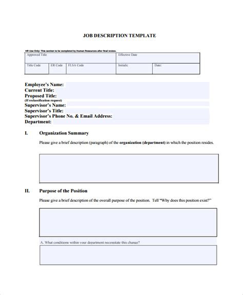 33 Job Description Templates Sle Templates Description Template Free Word