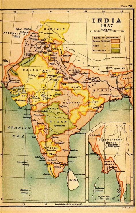Outline History Of Indian by Map Of India In 1857