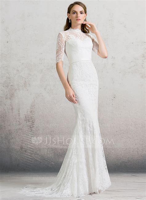 High Wedding Dresses by Sheath Column High Neck Sweep Lace Wedding Dress
