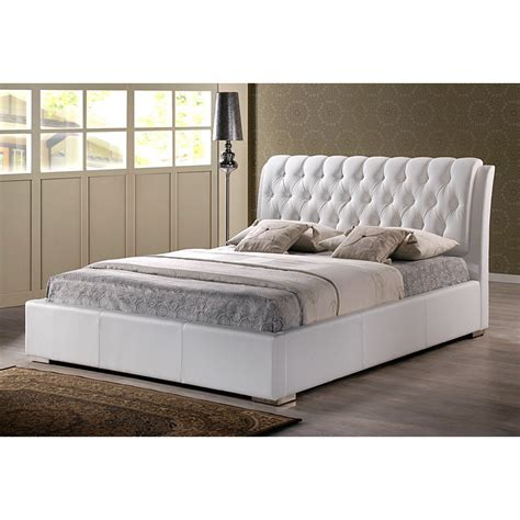 wisconsin bedding bianca queen platform bed diamond tufts metal legs white dcg stores