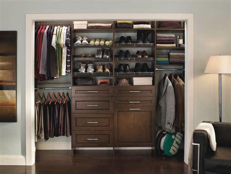 custom reach in closet organizers chocolate pear
