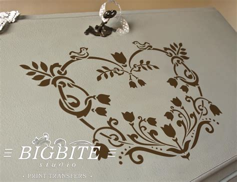 shabby chic stencil floral heart decorative 064 touch