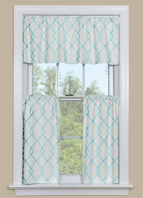kitchen curtain panels embroidered kitchen curtain panel in aqua