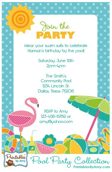 printable pool party decorations pool party collection printables party printables by