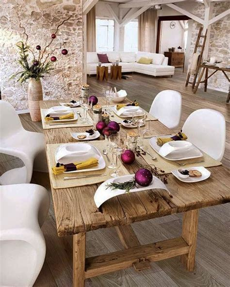 Rustic Dining Room Table Decor Decorating Rustic Oak Dining Table And White Chairs With Decorating Ideas