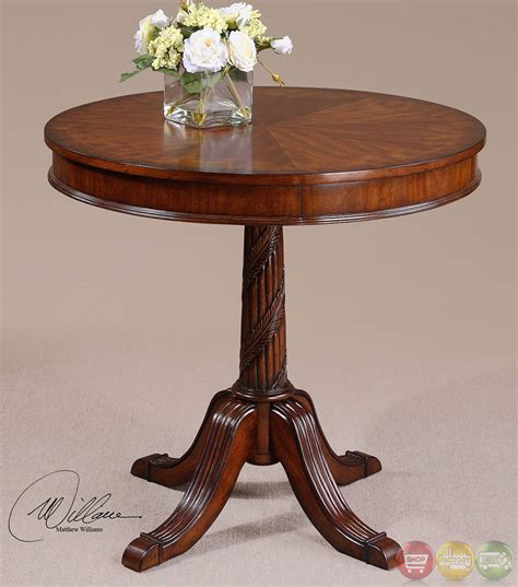 antique accent tables brakefield antique style round pedestal accent table 24149