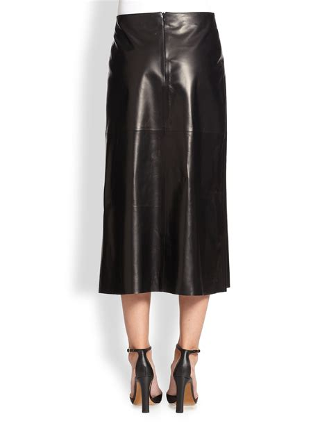 valentino paneled leather skirt in black lyst