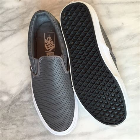 Perforated Slip Ons 33 vans shoes nwot vans gray leather perforated