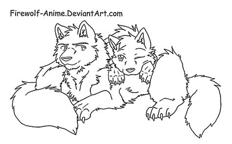 wolf love coloring pages wolf cuddle line art by firewolf anime on deviantart