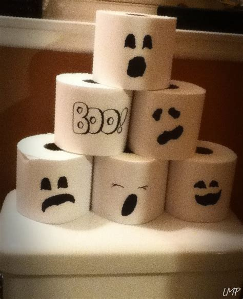 Printer Paper Crafts - spooky tp wrap toilet paper in white printer paper