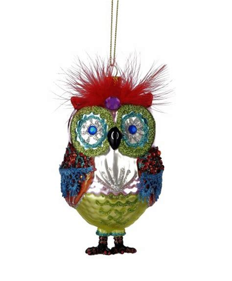 red feather top whimsical owl glass christmas holiday ornament