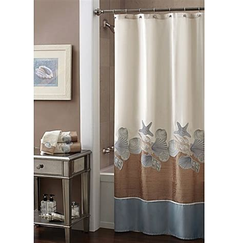 natural shells shower curtain croscill 174 shells ashore 70 inch x 72 inch shower curtain