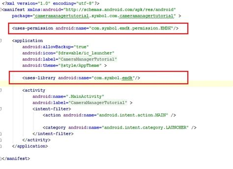 tutorial android manifest administer use of camera using camera manager zebra