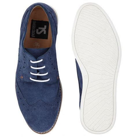s twisted soul navy blue suede brogue style shoes