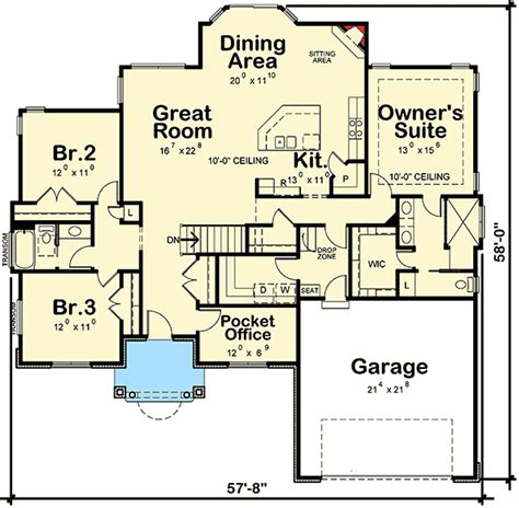 house plans with walk in pantry walk in pantry floor plans southern house plan with pocket office 42358db 1st