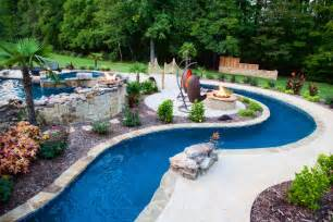 Backyard Pool With Lazy River Backyard Lazy River Pool Design With Liner And Concrete Floor Tiles Surrounded With Garden