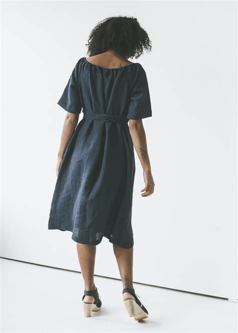 Ll Dress Fara Navy sunja link gathered neck dress in navy garmentory