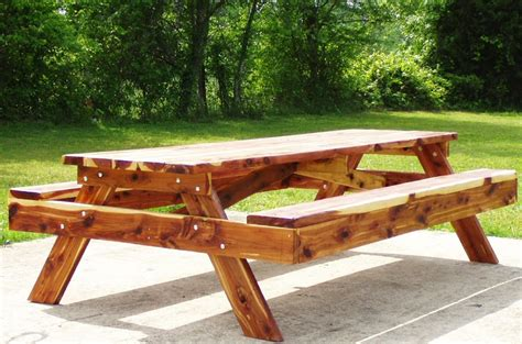 picnic tables custom built  red cedar  redwood