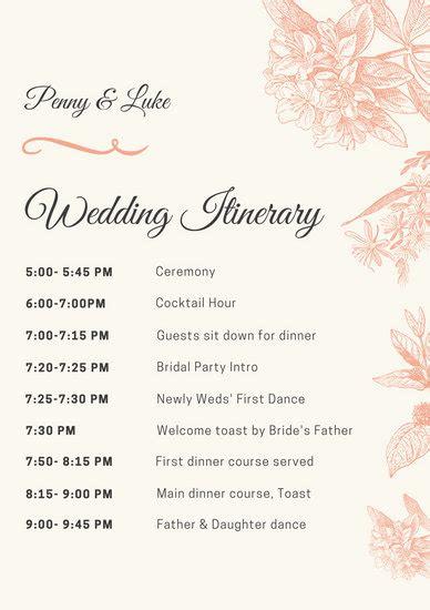 Peach Illustrated Wedding Itinerary Templates By Canva Wedding Itinerary Template For Bridal