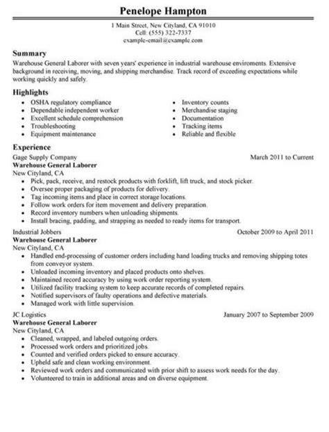 general labor resume sle 28 images shop assistant