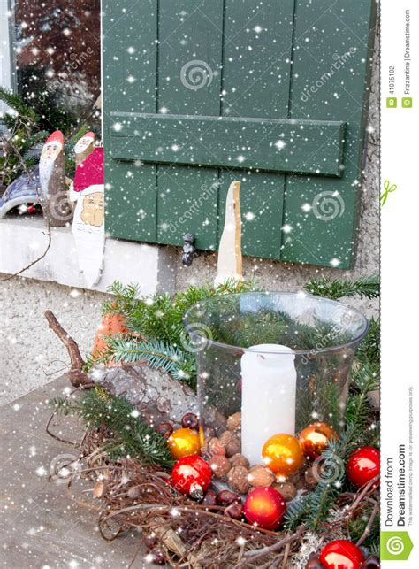 window sill christmas decorations window sill outside decorated with and santa for christm stock photo image 41075102
