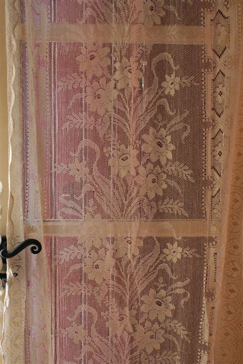 vintage curtain panels pair french vintage ivory lace curtain panels
