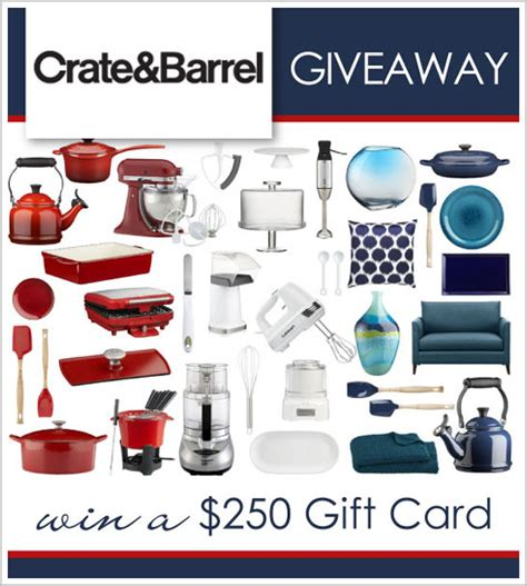 Can You Use Crate And Barrel Gift Card At Cb2 - giveaway 250 crate barrel gift card