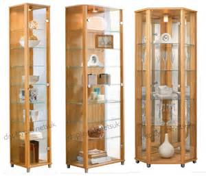 Small Glass Display Cabinet Uk Oak Glass Display Cabinet Single Corner Display