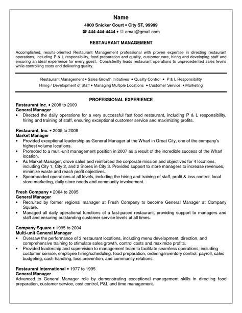 Manager Resume Sle by Restaurant Manager Resume Sle 28 Images Restaurant