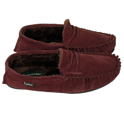 gents slippers uk mens dunlop moccasin suede leather slippers gents