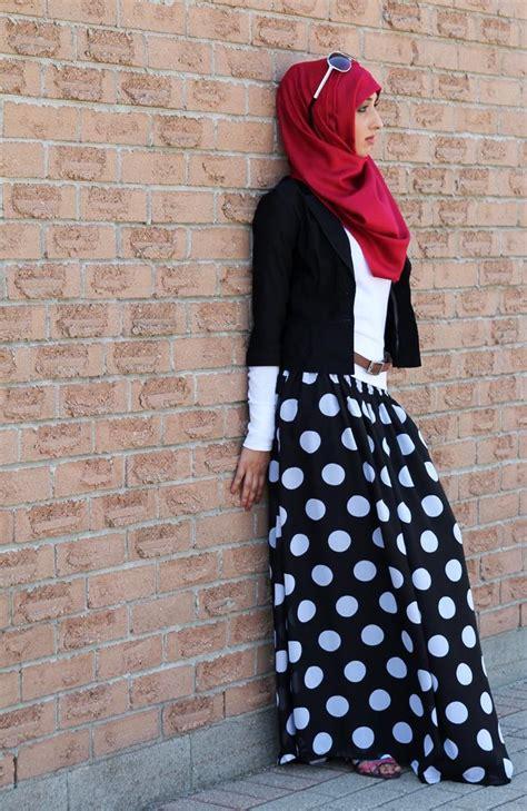 Polka Tile Skirt black polka dot smocked waist maxi skirt muslim fashion and veil to be