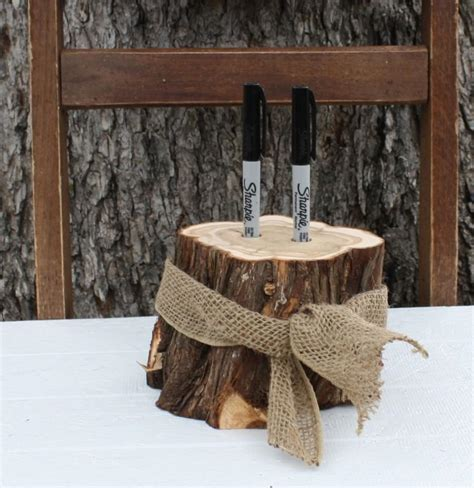 Rustic Wedding Decor, Pen Or Marker Holder, Tree Stump, 2