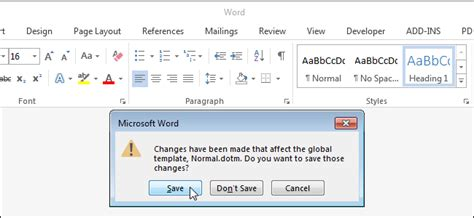 How To Get Notified When Word Wants To Save Changes To The Normal Template Microsoft Word Normal Template