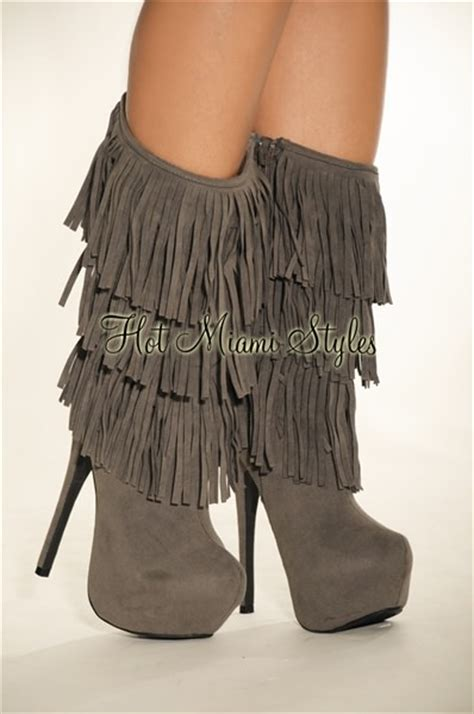 gray faux suede fringe high heel boots